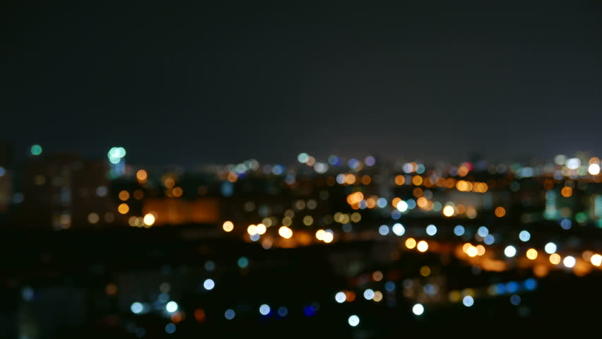Beautiful Skyline of Pattaya at Night Thailand Blurred Out No Focus Glowy Lights Time Lapse