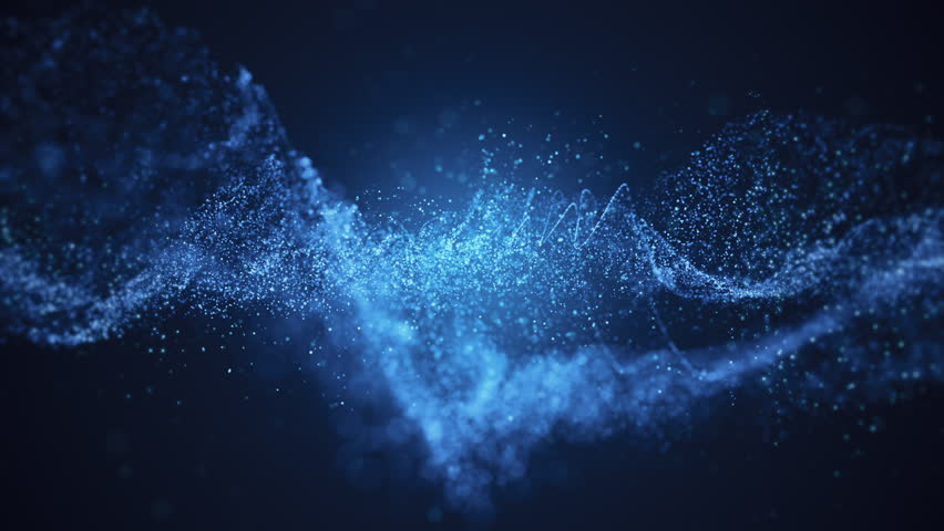 Abstract background with moving and flicker particles. Backdrop of bokeh. Animation of seamless loop.