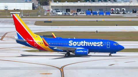 FT. LAUDERDALE, FL - 2019: Southwest Airlines Boeing 737-700 Next Gen Commercial Jet Airliner Taxiing at Fort Lauderdale Hollywood FLL International Airport on a Sunny Day in South Florida