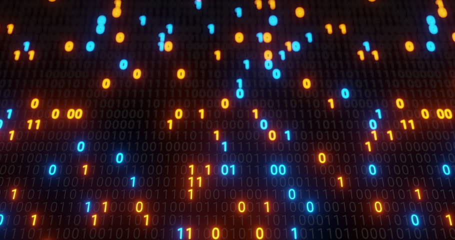 Abstract seamless blue and orange digital binary code matrix background loop. Motion graphic for Big data information technology, data center, block chain, server, internet, hi-speed. 3D rendering | Shutterstock HD Video #1028384651