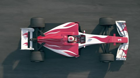 Top view of a formula one race car driving across the finish line with success written on the track - realistic high quality 3d animation