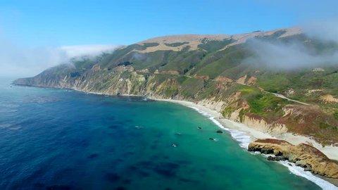 Big Sur California Landscape by Aerial Drone, Pacific Coast Highway 1 PCH, Beach Coast & Bridge Flyover