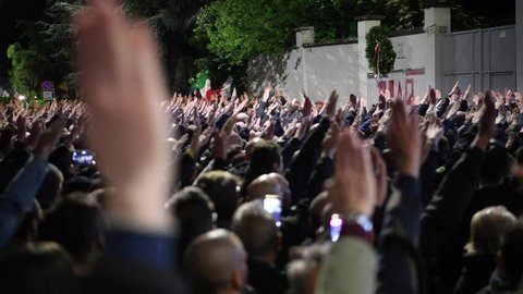 Milan, Italy - 30 April 2019: Italian far-right and neo-fascist supporters perform the fascist roman salute during the celebrations for Giorgio Ramelli's death. With audio.