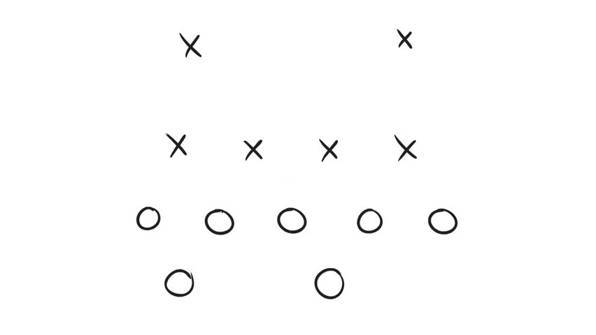 2d Animation motion graphics drawing of an American football game plan diagram of Xs and Os offensive strategy on white and green screen with alpha matte in HD high definition. | Shutterstock HD Video #1028581361
