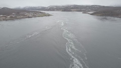 Saltstraumen is a small strait with one of the strongest tidal currents in the world. It is located in the municipality of Bodø in Nordland county, Norway. filmed static shot