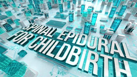 Spinal Epidural for Childbirth with medical digital technology concept
