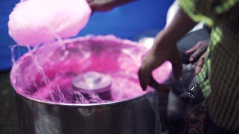 Guwahati, Assam / India - 10 16 2018: Cotton Candy Making In Durga Puja