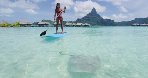 Adventure travel woman on SUP Paddleboard looking at stingray at Bora Bora relaxing at luxury resort hotel on travel vacation in Tahiti, French Polynesia. Asian bikini girl fun watersport activty.