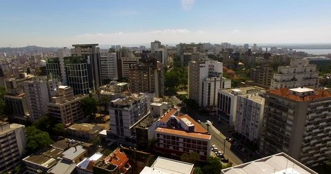 PORTO ALEGRE, RS: Aerial along buildings and the Rio Guaiba in the background. Brazil, Porto Alegre, Rio Grande do Sul, South America, brazilian, mercosul,