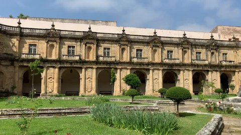Coimbra/Portugal-May 1, 2019:The cloisters of the Santa Clara-a-Nova Monastery in Coimbra Portugal