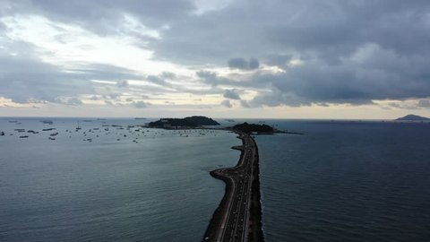 Aerial view of and Amador Causeway and islands in Panama City