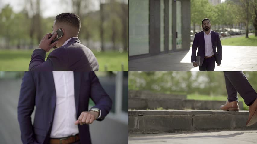 Collage of serious well-dressed mixed-race businessman with beard walking fast, being late for meeting, talking on phone, looking at watch. Work, business concept