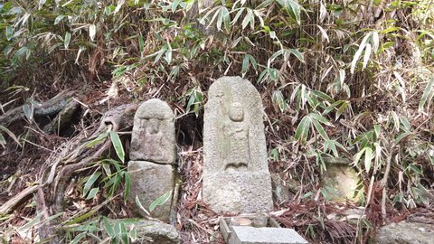 A slide (zoom) shot of Jizo (Buddha) statues on a rural mountain trail in Japan.