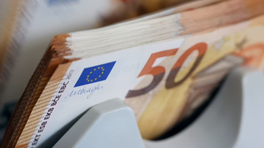 Close up of euro banknotes while being counted | Shutterstock HD Video #1028905571