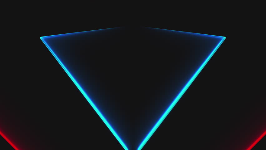 Many neon triangles in space, abstract computer generated backdrop, 3D rendering backdround | Shutterstock HD Video #1028920991