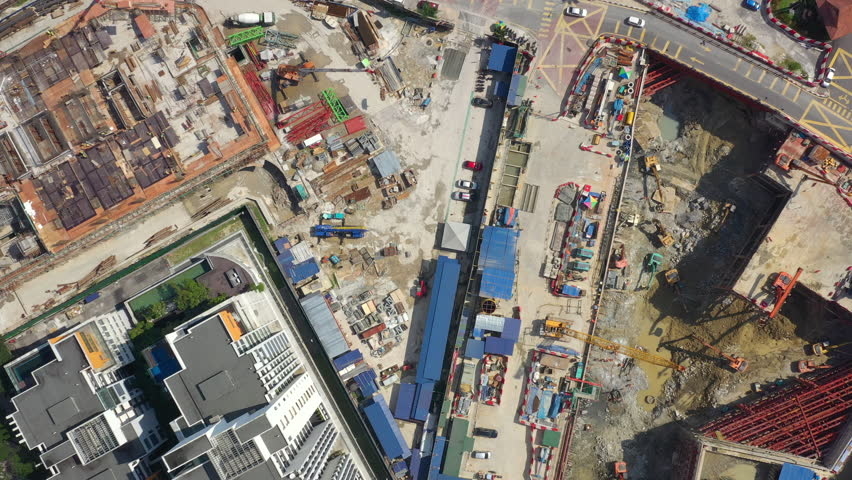 Sunny day kuala lumpur downtown construction area aerial topdown panorama 4k malaysia | Shutterstock HD Video #1028929571