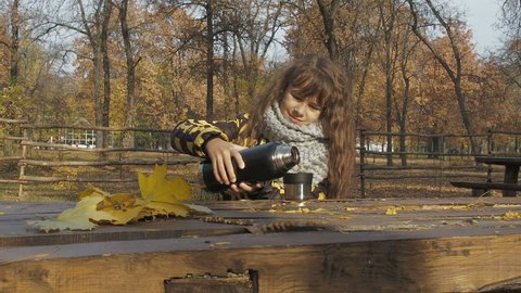 Tea from a thermos on the nature in the fall. The girl drinks hot tea in the autumn forest.