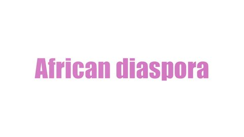 African Diaspora Word Cloud Animated On White Background