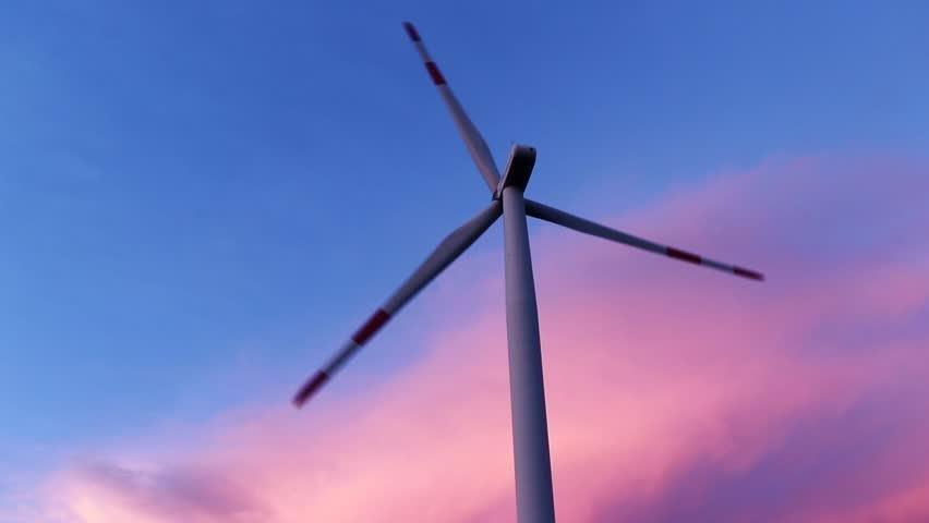 Wind turbine generator wind energy plant power turbine. Wind power renewable electric energy production. Wind energy nature clean fields blue sky alternative energy pink sunset clouds background.
