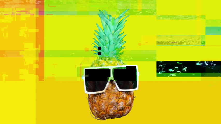 Cool mr pineapple head with shades and overlayed distortion | Shutterstock HD Video #1029170501