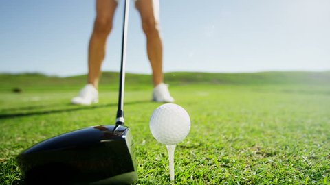 Caucasian Female Golfer Play Physical Golf Resort Global Success Target Business