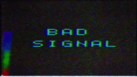 Bad signal on the analog signal in the TV. image with VCS signal interference.Unique Design Abstract Digital Animation Pixel Noise Glitch Error Video Damage