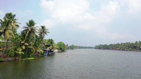 Kayaking in the Kerala Backwaters in India