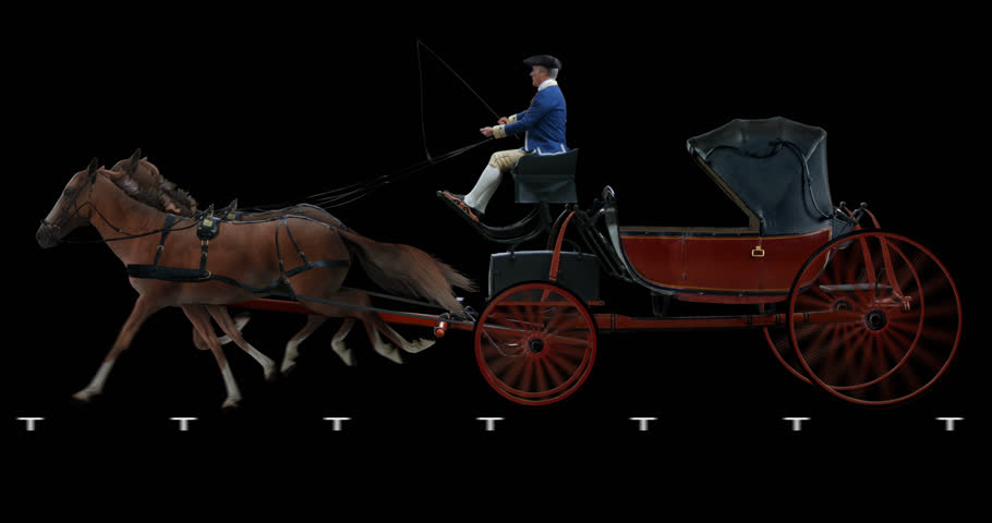 Red horse-drawn carriage. Cyclic animation in two versions: with and without a coachman. Alpha channel is included. Can also use as a silhouette.