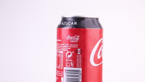 Saragossa Spain. May 13, 2019, coca cola brand Zero soft drink can