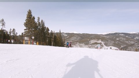 Keystone, Colorado, USA-January 5, 2019 - Slow motion. Alpine skiing at the pick of the season.