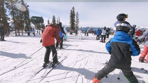 Keystone, Colorado, USA-January 5, 2019 - Slow motion. At the top of the mountain at the alpines ski resort.