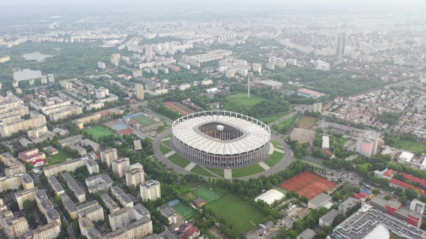 Bucharest national stadium and cityscape drone | Shutterstock HD Video #1029597551
