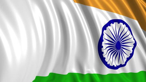 Indian flag in slow motion. The flag develops smoothly in the wind. Wind waves spread over the flag. This version of the flag in smooth motion is suitable for almost any video