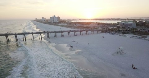 Sunset in Pensacola beach, Florida. Drone shot at golden hour.