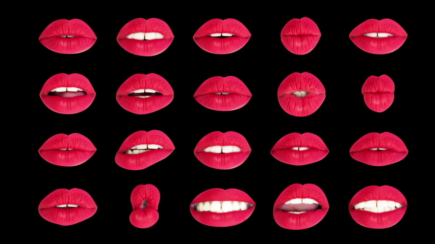 Sequence of different images of woman's beautiful full red lips made into a grid pattern with intentional overlayed distortion | Shutterstock HD Video #1029622211