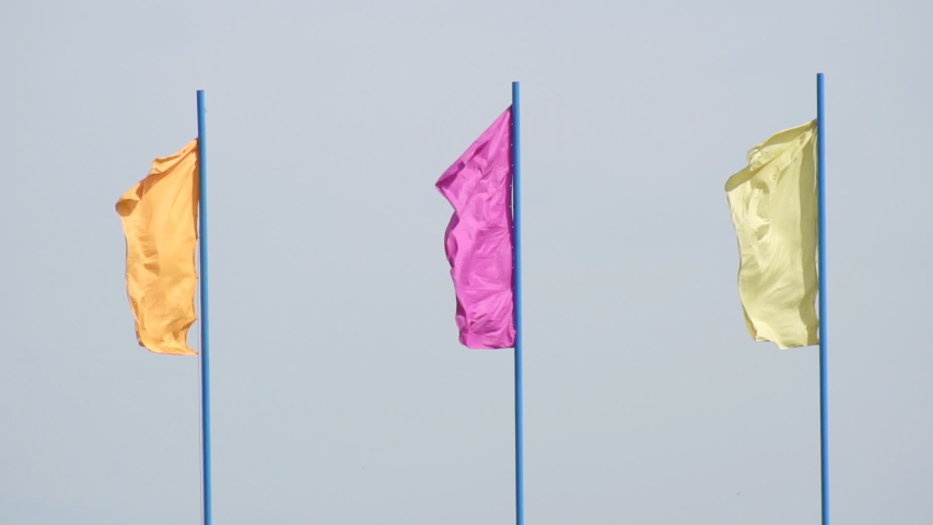 Multicolored festive flags evolve in the wind against a blue sky, background, festive, slow motion, symbolic   Shutterstock HD Video #1029672461