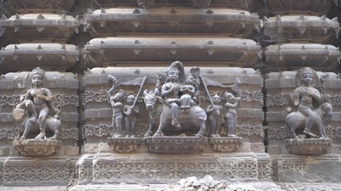 Varanasi / India 25 April 2019 Statue of lord Shiva Parvati sitting on nandi bull at Kashi Vishwanath Temple Corridor in Varanasi Uttar Pradesh