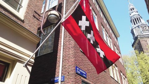 Official flag of Amsterdam in Red Light District