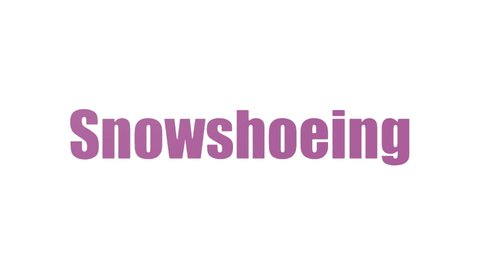 Snowshoeing Wordcloud Animated On White Background