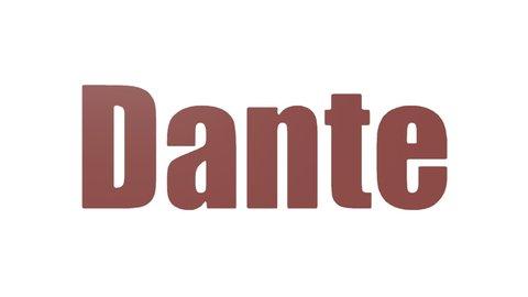 Dante Wordcloud Looping Animated Isolated