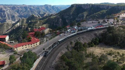 Aerial drone view of the Chepe Training at the station of Divisadero in Copper Canyon, Chihuahua, Mexico