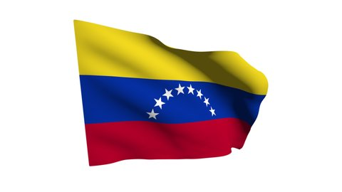 The Venezuelan flag is developing in the wind. Alpha channel. The animation of the fabric.
