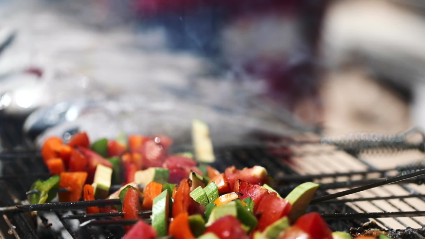 Skewered vegetables cooking on outdoor grill. Close up.   Shutterstock HD Video #1029908231