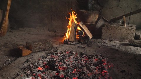 Fire flame and live coals for grill.