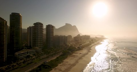 High view of sunrise at Barra da Tijuca Beach, Rio de Janeiro - Brazil.