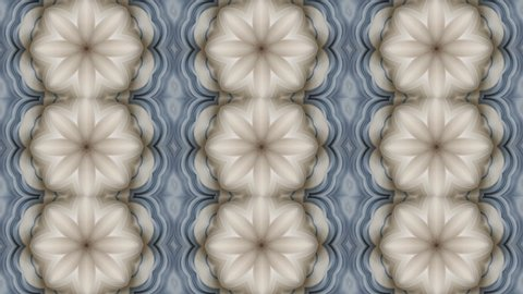 3D effect. Abstract animated kaleidoscope motion background. Sequence graphics ornaments patterns. White blue beige structure motifs sequins. Bright impulsively luminous light backdrop.