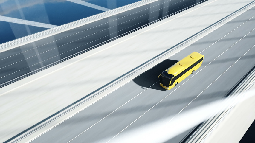 3d model of bus on bridge. Very fast driving. 4k animation. | Shutterstock HD Video #1030085501