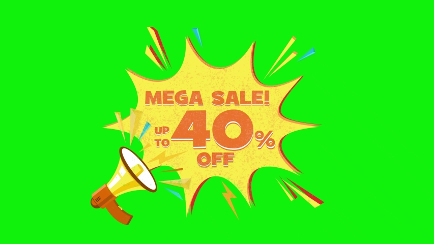 Mega sale text up to 40% off megaphone flying 3d animation on green screen  | Shutterstock HD Video #1030133351