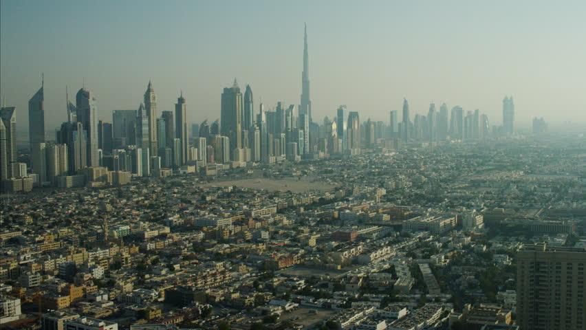 Aerial Skyscrapers Burj Khalifa Downtown Dubai UAE