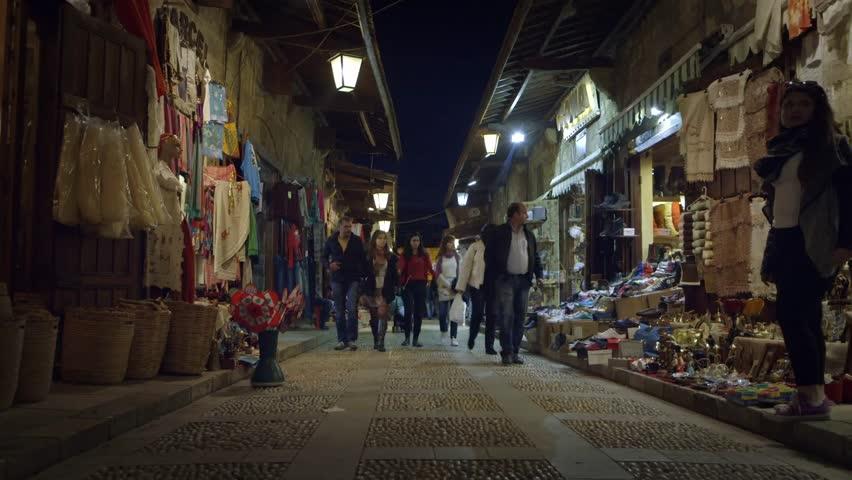 Jbeil, Lebanon - March 2014. People walking in the historical street of Jbeil city, Lebanon.